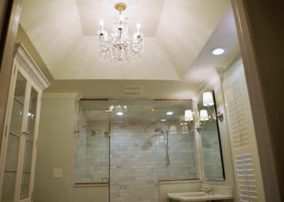Open Vanity, Herringbone Tile & Chandelier | Master Suite | St. Louis, MO